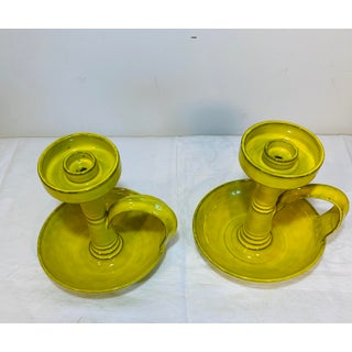 1960s Mid Century Italian Fiancé Terra-Cotta Yellow Glazed Candlesticks - a Pair Preview