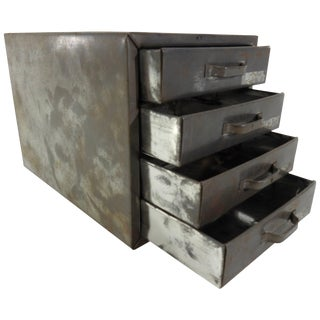 Midcentury Small Industrial Metal Box With Drawers For Sale