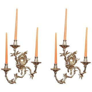Pair of French Regence Bronze Wall Sconces For Sale