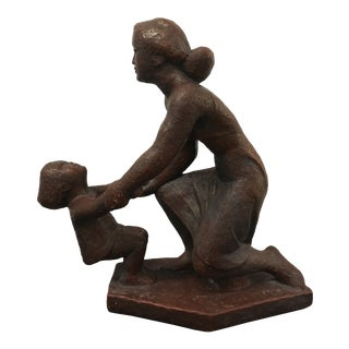 1940s Vintage Mother and Child Sculpture For Sale