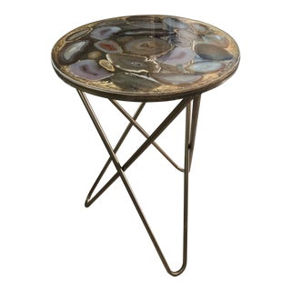 Regency Agate Slices Side Table For Sale
