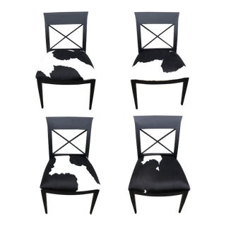 Baker Furniture Archetype Dining Chairs with Cowhide Upholstery - Set of 4 For Sale