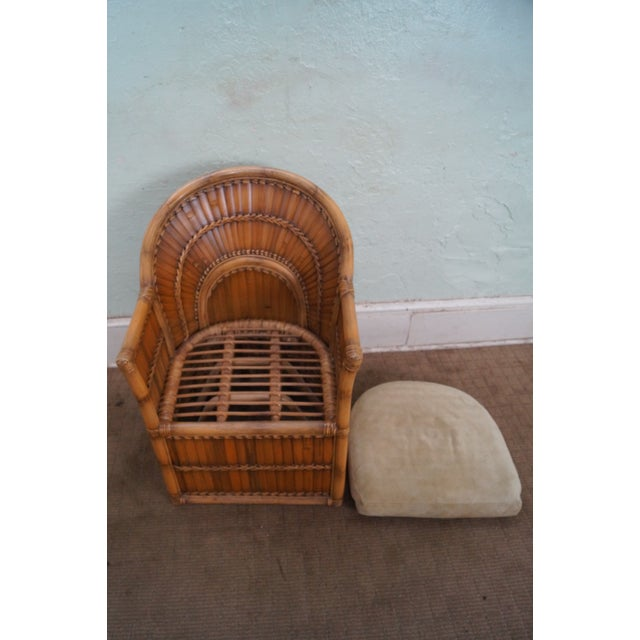 Outstanding Vintage Fan Bamboo Rattan Lounge Chairs A Pair Machost Co Dining Chair Design Ideas Machostcouk