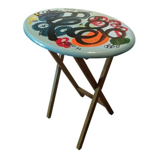 1977 Peter Keil Abstract Painted Folding Tray Table For Sale