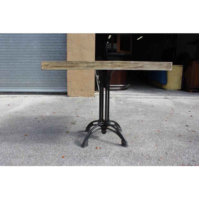 Metal 1920s French Country Cast Iron Base Walnut Top Dining / Bistro Table For Sale - Image 7 of 13