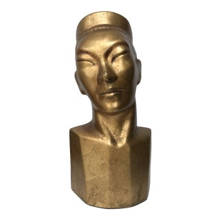 Mid Century Modern Ceramic Gilded Male Asian Head Bust Statue For Sale