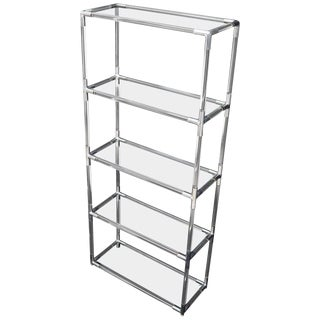 Lucite and Aluminum Mid-Century Modern 5-Tier Etagere Vitrine Shelving Unit For Sale