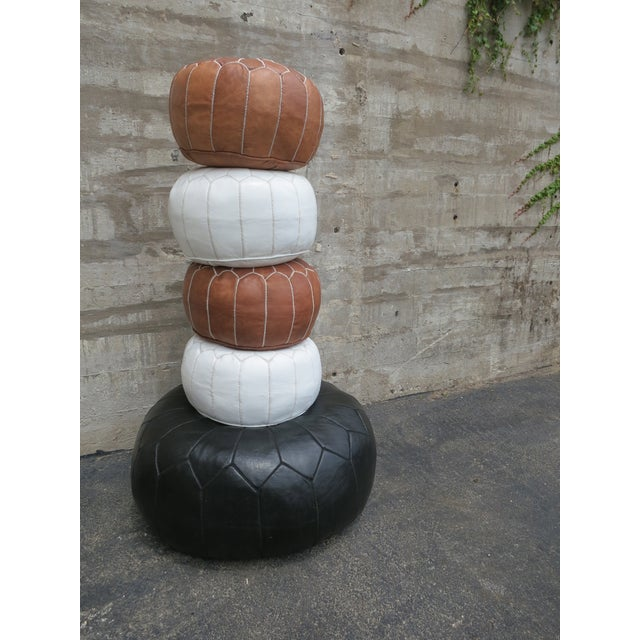 Moroccan Black Leather Pouf - Image 6 of 6