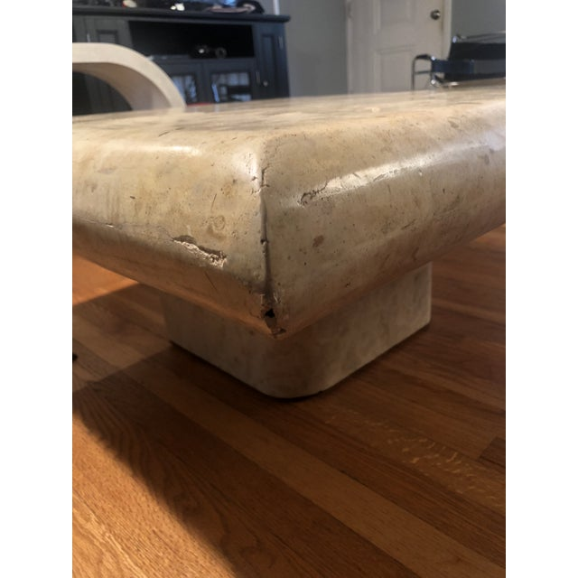 1970s Organic Modern Tesselated Fossilized Stone Coffee Table Karl Springer Style For Sale In Kansas City - Image 6 of 13