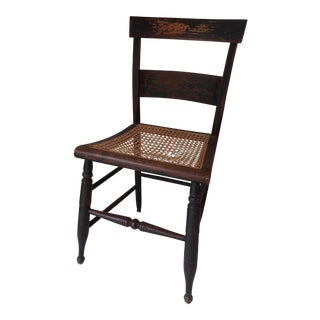 Antique Country Black Caned Chair For Sale