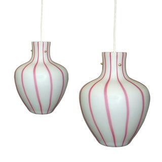 Vintage Murano Striped Glass Hanging Lamps Pink White For Sale