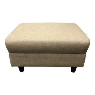 Modern EQ3 Beige Upholstered Ottoman For Sale