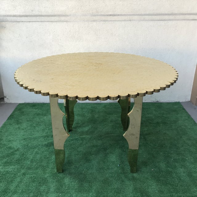 1970s Klassik Monumental Brass Hammered Entry Table For Sale - Image 5 of 12