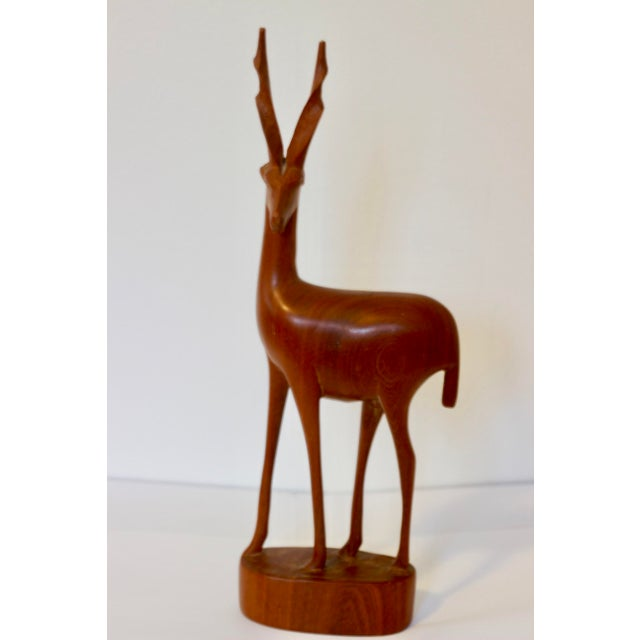 Mid Century Modern Teak Carved Gazelle Statue For Sale - Image 6 of 6