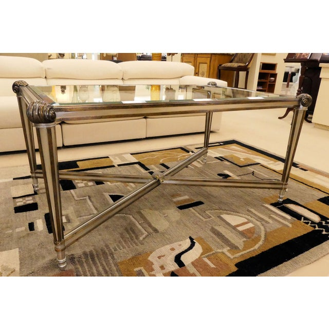 """Vintage LaBarge antiqued brass and steel coffee table with beveled glass top. Measurements: 32.25"""" x 52.25"""" x 25""""H Height..."""