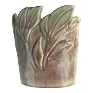 Vintage Celadon & Pink Floral Vase by West Coast Potteries For Sale
