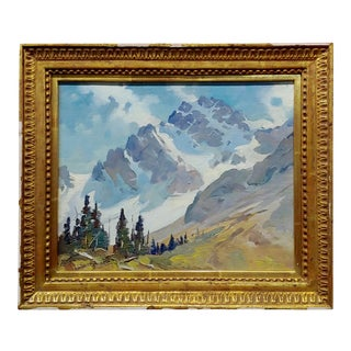 "George Browne ""Snow Capped Sierras ""Expressionist Oil Painting For Sale"