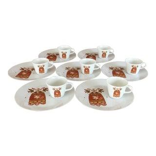 Georges Briard Birdcage Pattern Snack Set - Set of 7 For Sale