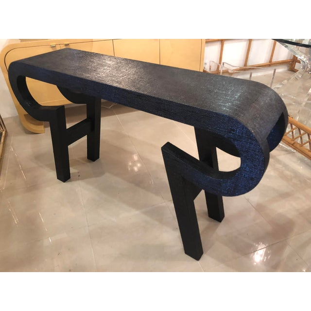 Black Black Lacquered Grasscloth Scroll Ming Console Table For Sale - Image 8 of 14