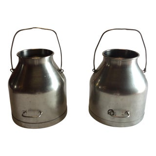Vintage Steel Milk Cans - A Pair For Sale