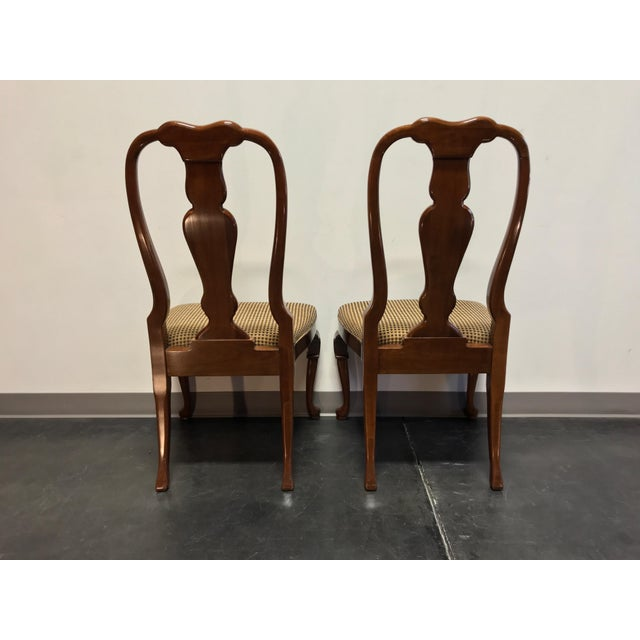 Solid Cherry Queen Anne Dining Side Chairs by Fancher - Pair 2 For Sale - Image 4 of 9
