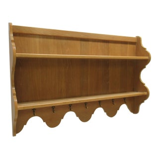 Century Furniture Oak French Country Hanging Wall Shelf Curio Display Hutch For Sale