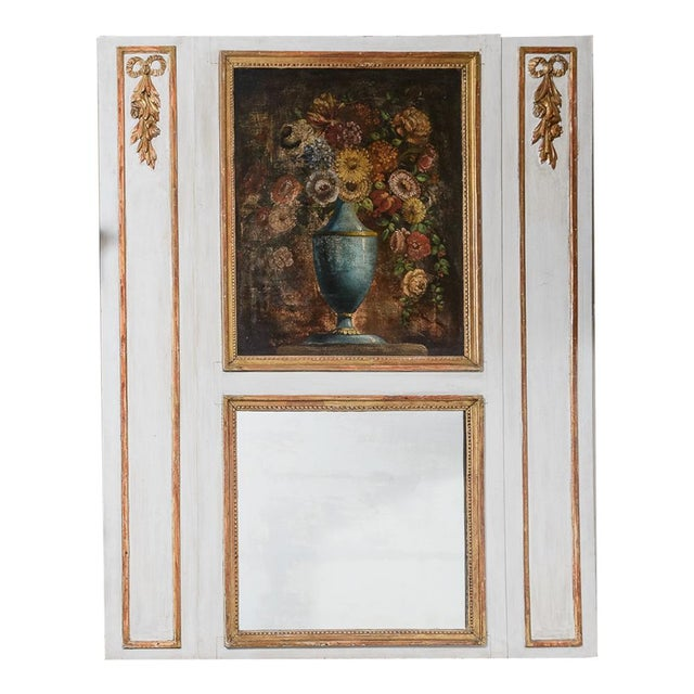 White Antique Trumeau Mirror With Painting For Sale - Image 8 of 8
