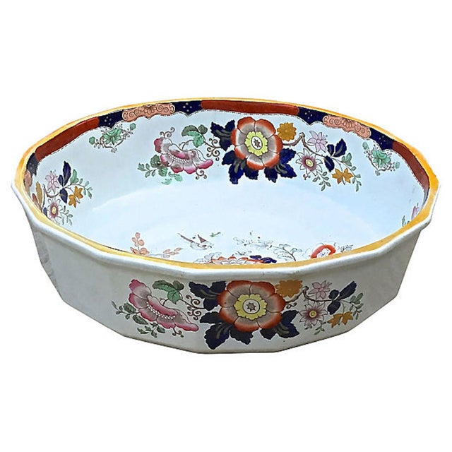 Mason's Ironstone Antique Ironstone Floral Basin & Pitcher - a Pair For Sale - Image 4 of 11