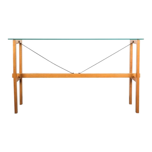 Superstudio Console Table Wood and Glass Zanotta, Italy, Circa 1980 For Sale
