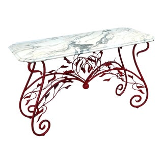 Hollywood Regency Marble Toile Console Table For Sale