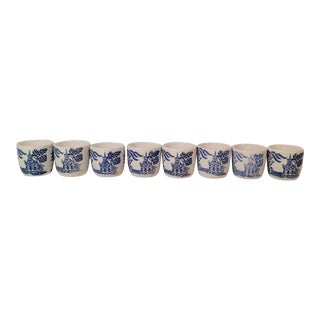 Japanese Flo Blu Saki Cups Shot Glasses - Set of 8 For Sale