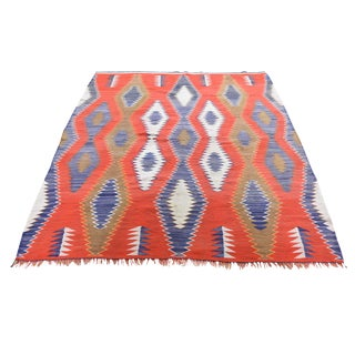 """Vintage American Indian Navajo Flat Weave Hand-Woven Rug - 4'9"""" X 6'5"""" For Sale"""