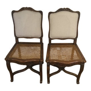 French Side Chairs Cane Seats & Upholstered Backs - A Pair For Sale