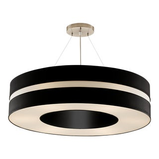 Art Deco Matte Black and Brushed Nickel Pendant Light For Sale