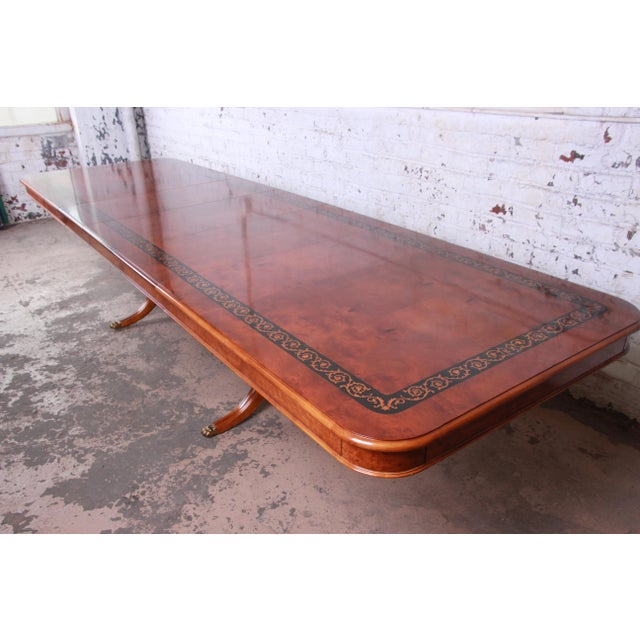 Outstanding 13 Foot Burled and Inlaid Regency Style Extension Dining Table For Sale - Image 4 of 13