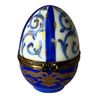 Hand-Painted Limoges Porcelain Egg For Sale