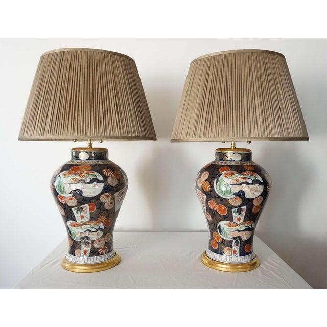 Exquisite pair of last quarter 19th century Edo Imari style baluster jar vases of good size by Samson, Edmé et Cie, Paris...