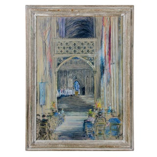 1940s Religious Drawing of The Nave, Canterbury Cathedral by Kathleen Persse For Sale