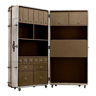 Metal Sheet Restored Office Trunk For Sale