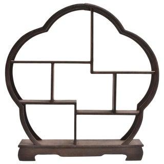 Small Display Stand, Wenge Wood Mini Shelf, Begonia Shape For Sale