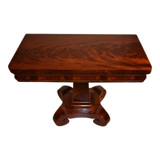 1840s Antique American Empire Crotch Mahogany Flip Top Game Table For Sale