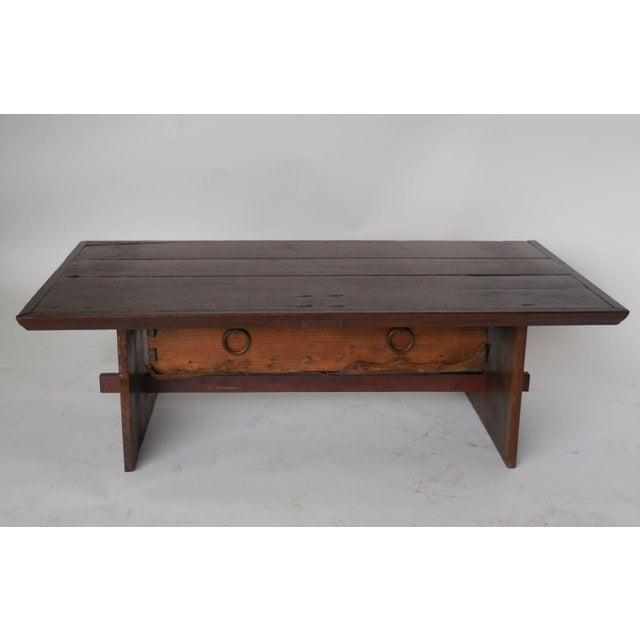 Rustic Coffee Table with Leather Bottom Drawer - Image 2 of 8
