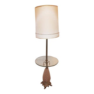 1970s Pineapple Floor Lamp With Glass Table For Sale