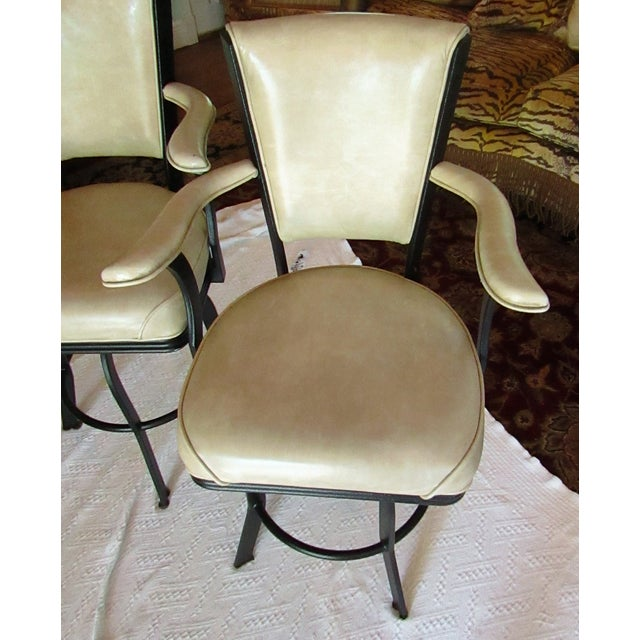 Industrial Style Iron and Pleather Swivel Bar Stools - a Pair For Sale - Image 4 of 8