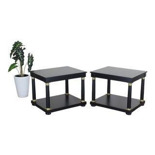 Pair of Empire Style Baker Side Tables - Black Side Tables - Baker Tables For Sale