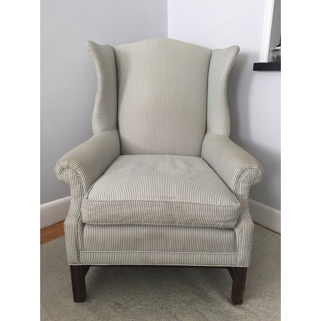 Custom Striped Wing Chair - Image 2 of 9