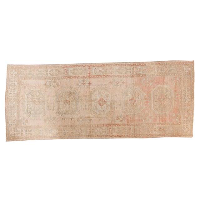 """Vintage Distressed Oushak Rug Runner - 4'8"""" X 11'5"""" For Sale"""
