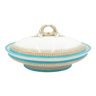 Antique Oval French Style Covered Tureen With French Blue Banding For Sale