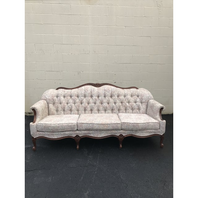1960s 1960s Queen Anne Tufted Linen and Walnut Sofa For Sale - Image 5 of 5