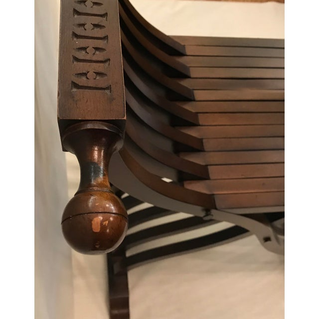 20th Century Italian Savonarola X-Form Carved Wooden Chair For Sale - Image 10 of 13